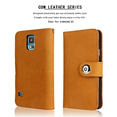 Genuine Matte Cowhide PU Leather Flip Cover Wallet Card Slot Case with Stand for Samsung Galaxy S5 I9600