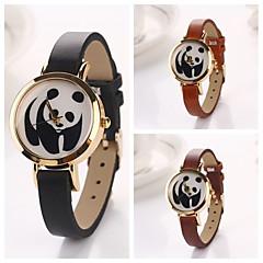 Women's Panda Round  Dial Leather Quartz Wristwatches  (Assorted Color)