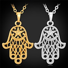 U7® Hamsa Hand Necklaces Pendants Lucky 18K Real Gold Plated Judaica Fashion Jewelry Unisex High Quality