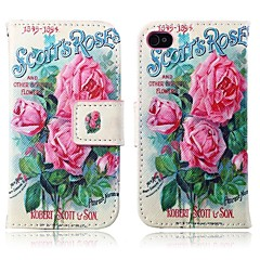 Pink Flower Pattern PU Leather Full Body Case with Card Slot and Stand for iPhone 4/4S