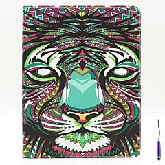 løven mønster pu lærveske deksel med en touch penn stativ og kortholderen for ipad 2/3/4