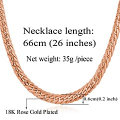 U7® Men's Chunky Necklace 3 Colors 18K Gold Plated Wheat Classical Chain Necklace Jewelry Unisex High Quality 26''