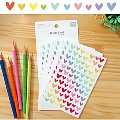 colorido engraçado grupo da etiqueta do coração (6 pcs)