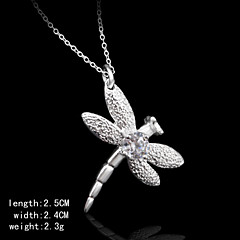 Cubic Zirconia Stone Decoration Charming Silver Dragonfly Shape Women's Pendents