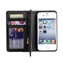 Côr Sólida/Design Especial - iPhone 4/4S/iPhone 4 - Capa com Suporte/Cases Totais (Preto , Pele PU/Plástico)