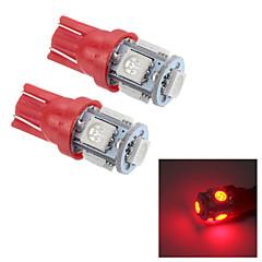 Merdia T10 0.5W 25LM 5x5050SMD LED Red Light Reading Light/License Plate Lamp/Side light (24V / Pair)