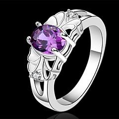 Maxi anel Cristal Prata de Lei Roxo Jóias Casamento Festa Diário Casual 1peça