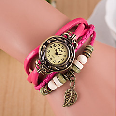cadran rond de tissés à la main des femmes laisse montre en cuir bande quartz braceiet analogique (couleurs assorties)