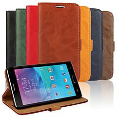 For Samsung Galaxy Note Kortholder Med stativ Flip Etui Heldækkende Etui Helfarve Kunstlæder for Samsung Note 4