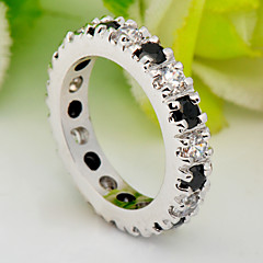 High Quality Fashion Platinum 10 KT Black And White And Double Color Zircon Ring
