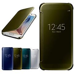 For Samsung Galaxy etui Med vindue Spejl Flip Transparent Etui Heldækkende Etui Helfarve PC for Samsung S6