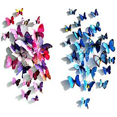 12 pz decalcomanie arte simulazione 3D adesivi murali farfalla della parete del PVC (colori assortiti)
