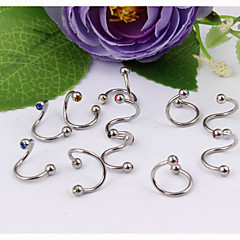 Fashion Stainless Steel Earrings Eyebrow Lip Ring Body Jewelry Piercing(Random Color)