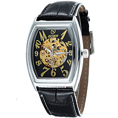 Men's Barrel Shaped Alloy Dial Leather Strap Automatic Mechanical Waterproof Watch(Assorted Colors) Cool Watch Unique Watch