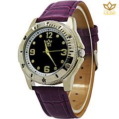 Montre cadran rond montre décontracté mode montre bracelet en cuir de quartz au poignet des hommes (couleurs assorties)