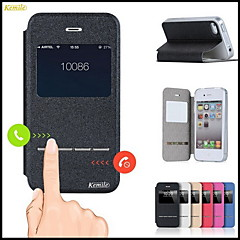 Kemile mart Front Window Cae Cover PU Leather Cae liding Anwer Call Function Flip for iPhone 4/4(Aorted Color)
