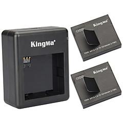 Kingma 2 × 1010mah az13-1 batterier + dubbla kortplatser batteri laddare set till Xiaomi Xiaoyi - svart