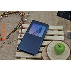 Na Samsung Galaxy Etui Z okienkiem / Auto uśpienie/włączenie / Flip Kılıf Futerał Kılıf Jeden kolor Skóra PU Samsung S6
