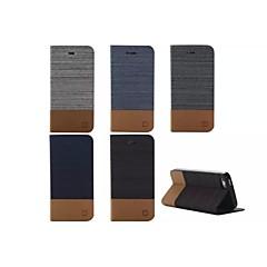 lignes de toile frappé colorer aucune boucle en cuir PU cas complète du corps pour l'iphone 5 / 5s (couleurs assorties)