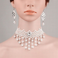 Fashion Women Alloy Lace Simulated-pearl Diamond Earrings Necklace Sets Causal Daily Wedding