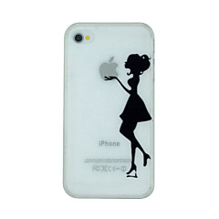 Girl Holds The Apple Logo Pattern Ultrathin PC Hard Back Cover Case for iPhone 4/4S