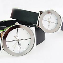 부부의 둥근 다이얼 플라스틱 스트랩 간단한 쿼츠 시계 (모듬 색상)