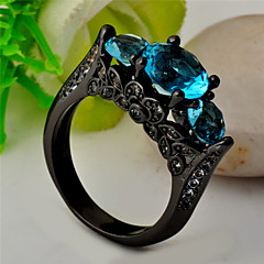 High Quality Fashion Women's Black Gold 10 KT Water Three Round Diamond Blue Zircon Ring