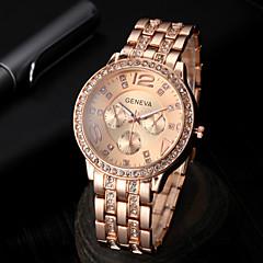 Relógio Casual Simulado Diamante Relógio Banda Prata Dourado Ouro Rose
