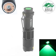 Zweihnder  Waterproof 3-Mode 1xCree XP-E Q5  Focusable Green Light Flashlight (450LM,1x18650 Battery,Black)