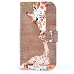 giraf mønster malet kort pu materiale telefon tilfældet for samsung s4 i9500