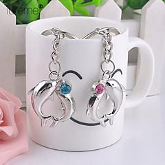 lureme® módní slitin dva delfíni perla tvar klíčenky (1 pár)