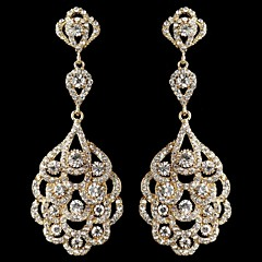 Vintage Women's Gold Drop Earrings Crystal Diamond Earring For Wedding Bridal