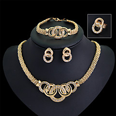 Jewelry Set Cubic Zirconia Statement Jewelry Gold Wedding Party 1set Necklaces Earrings Rings Bracelets & Bangles Wedding Gifts