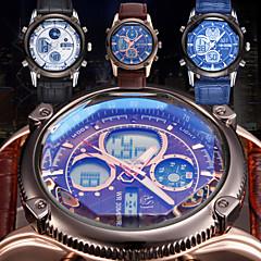 Men's Waterproof Fashion Sport Watch Chronograph Calendar Dual Time Zone Leather Band