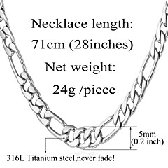 U7® Never Fade Men's 316L Stainless Steel Chunky Figaro Chain Necklace For Men 5MM,28Inches (71CM)