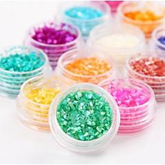 12Pcs Colors Natural Shell Glitter  Nail Art Decoration