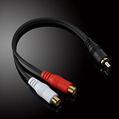 jsj® 0,2 0.656ft RCA han til 2x RCA kvindelige audio video kabel sort til musical optagelse