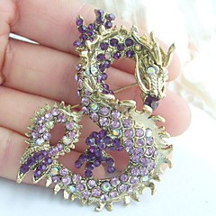 Women Accessories Gold-tone Purple Rhinestone Crystal Dragon Brooch Art Deco Crystal Brooch Pin