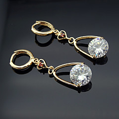 18K Russia CC/585 Golden Plated Rose Color Zircon Earrings
