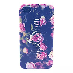Pink Rose Pattern Transparent Frosted PC Back Cover For  iPhone 4/4S