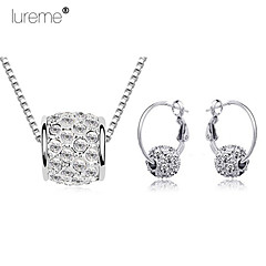 Lureme®  Korean Fashion Cherry Rain Drill Crystal Ball Pendant Alloy Necklace Earrings Suit