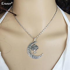 2015 Newest Moon Pendants & Necklace Silver Plated Chain Necklace Gifts Fashion For Women Men