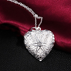 Z&X® 925 Silver Plated Hollow Out Love Lockets Necklaces Party/Daily 1pc