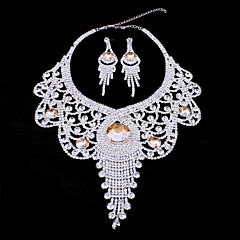 Upscale Bride Jewelry set Fashion Necklace with Earrings in Crystal and Rhinestone