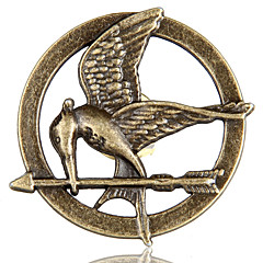 Hunger Games Mockingjay pattern metalliseos rintaneula - pronssi