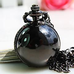 kvinnors nya svarta bollen form runt ratten mode kvarts halsband klocka hängur