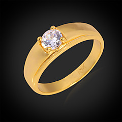 U7® High Quality 5MM 1ct Sparkle Cubic Zirconia Rings 18K Gold Plated 4 Prong Ring Promis rings for couples
