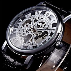 Men's Semi-Mechanical Manual Winding Fashion Skeleton Watch PU Leather Strap