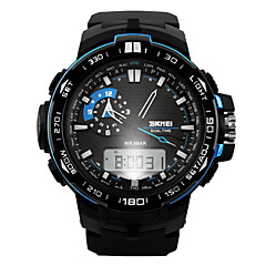 Herren Armbanduhr digital LCD / Kalender / Chronograph / Wasserdicht / Duale Zeitzonen / Alarm / Sportuhr Caucho Band Schwarz Marke- SKMEI