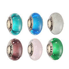 DIY perler glas / metal runde form stort hul perler 1stk